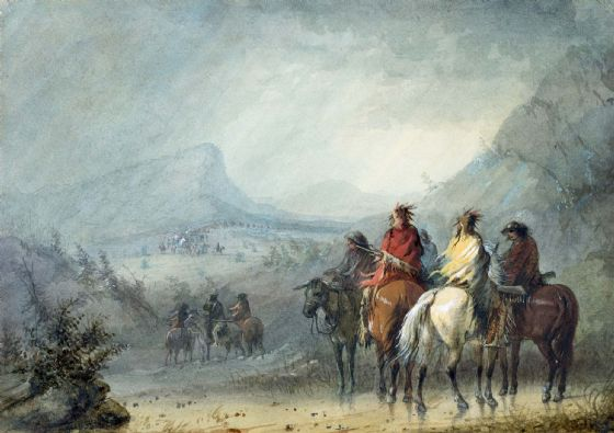 Miller, Alfred Jacob: Storm - Waiting for the Caravan. Fine Art Print/Poster. Sizes: A4/A3/A2/A1 (003817)